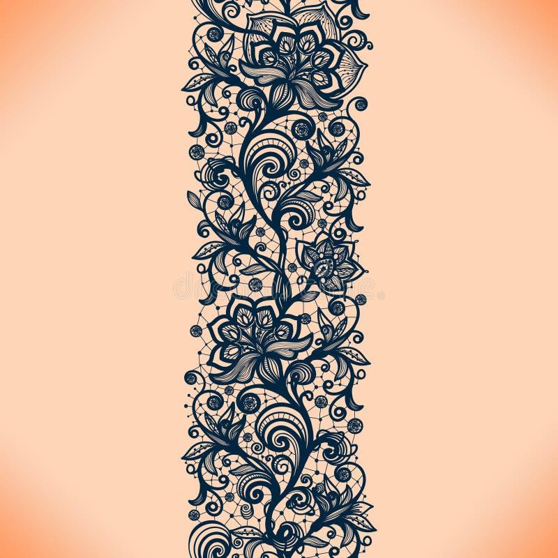 O teste padrão sem emenda da fita abstrata do laço com elementos floresce ilustração royalty free