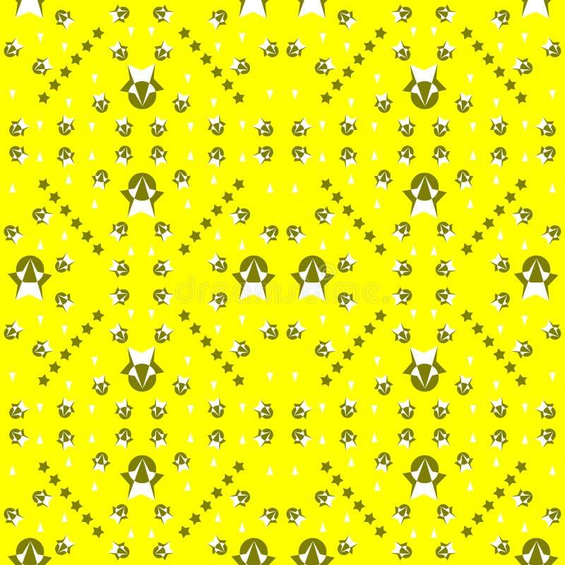 O teste padrão sem emenda das estrelas e as formas geométricas nas cores verdes amarelas brancas e escuras no amarelo brilhante c ilustração stock