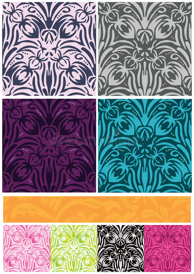O teste padrão sem emenda das flores 8 do damasco agradece-lhe bandeira ilustração do vetor