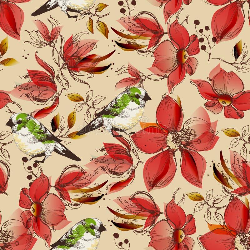 O teste padrão sem emenda das flores do vermelho e os pássaros bonitos imprimem ilustração stock