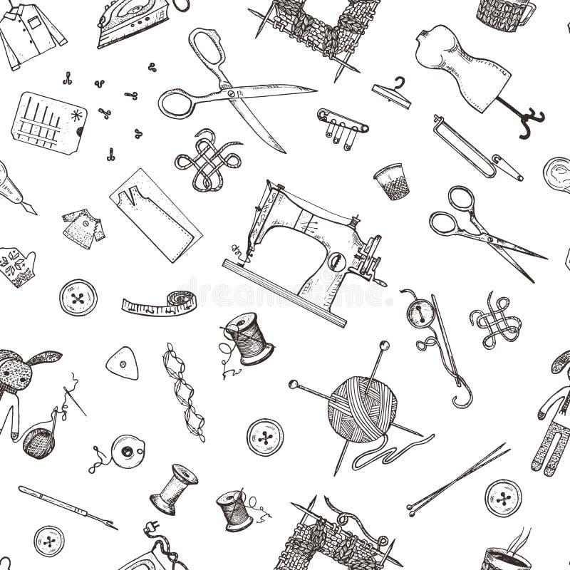O teste padrão sem emenda de ferramentas e materiais da costura ou as ferramentas para fazer malha ou fazem crochê para o bordado ilustração royalty free