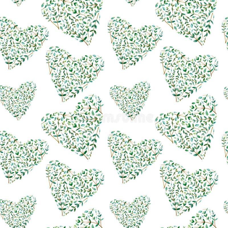 O teste padrão sem emenda de um coração de um eucalipto ramifica fotografia de stock