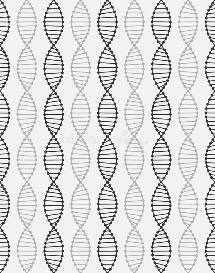 O teste padrão sem emenda de uma molécula do ADN é arranjado verticalmente Linhas pretas no fundo branco Para imprimir no roupa d ilustração royalty free