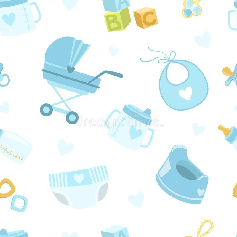 O teste padrão sem emenda do chuveiro do bebê, bebê que recém-nascido os símbolos projetam o elemento pode ser usado para o papel ilustração stock