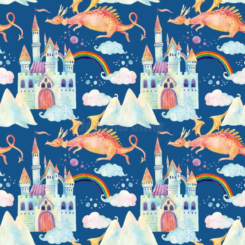 O teste padrão sem emenda do conto de fadas da aquarela com dragão bonito, o castelo mágico, as montanhas e a fada nubla-se ilustração stock
