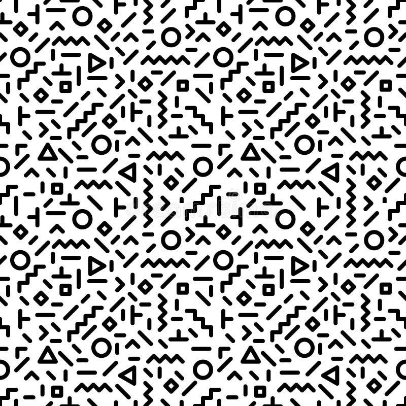 O teste padrão sem emenda do estilo na moda de memphis inspirou por 80s, projeto retro da forma 90s Contexto preto e branco do mo ilustração do vetor