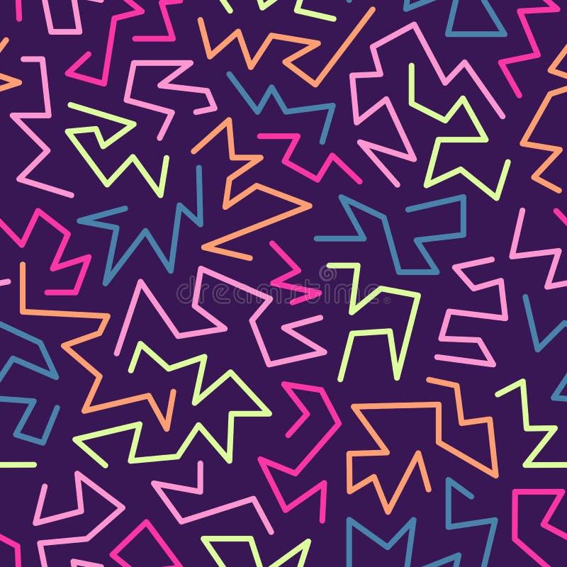 O teste padrão sem emenda do estilo na moda de memphis inspirou por 80s, projeto retro da forma 90s Fundo festivo colorido do mod ilustração do vetor