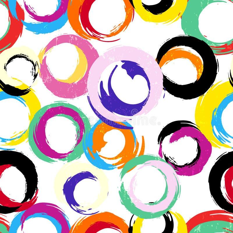 O teste padrão sem emenda do fundo, com círculos, afaga e espirra ilustração do vetor
