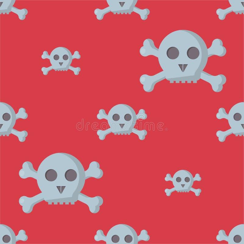 O teste padrão sem emenda do Grunge com crânios vector da arte humana do horror do osso da ilustração o esqueleto inoperante ilustração royalty free