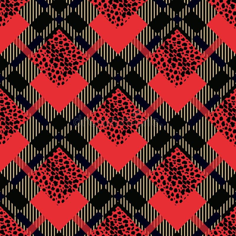 O teste padrão sem emenda do grunge vermelho escocês da tartã com leopardo mancha eps 10 ilustração stock