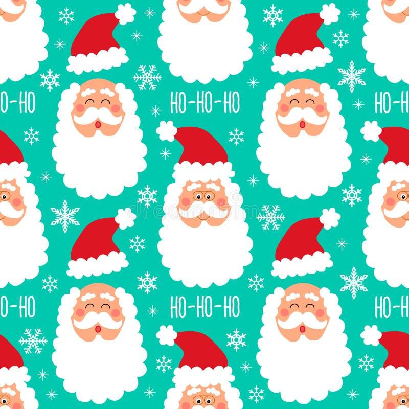 O teste padrão sem emenda do inverno criançola bonito com elementos tirados mão do Natal como Santa Claus enfrenta e o fundo dos  ilustração do vetor
