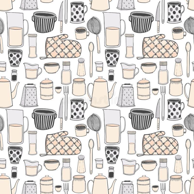 O teste padrão sem emenda do kitchenware e os utensílios entregam a ilustrações tiradas o estilo de tiragem moderno, isolado no f ilustração do vetor