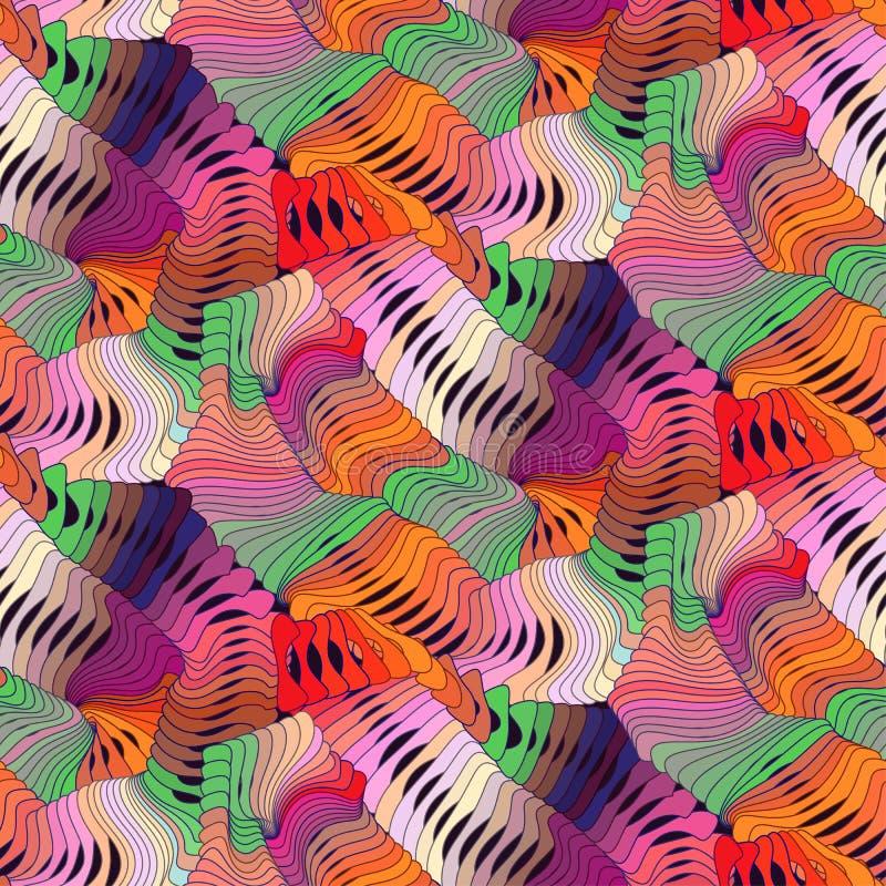 O teste padrão sem emenda do ondeamento do vetor colorido abstrato com círculo de ondulação alinha Ornamento do arco-íris no esti ilustração royalty free