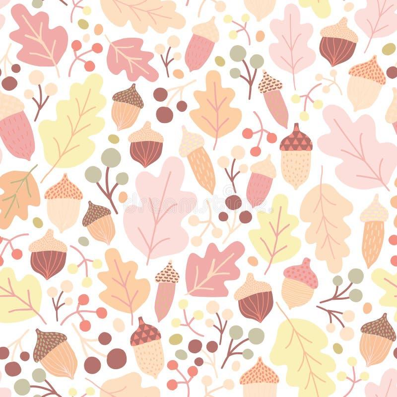 O teste padrão sem emenda do outono com carvalho caído sae, as bolotas, bagas no fundo branco Contexto sazonal Vetor colorido ilustração royalty free