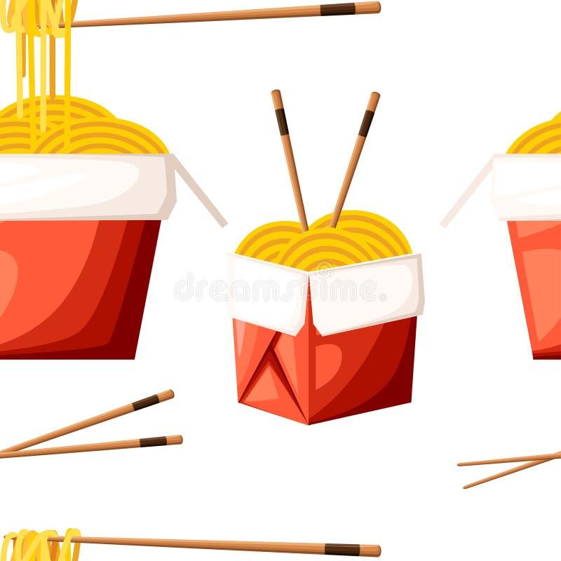 O teste padrão sem emenda do restaurante chinês leva embora a caixa vermelha do alimento com macarronetes e cola a ilustração na  ilustração royalty free