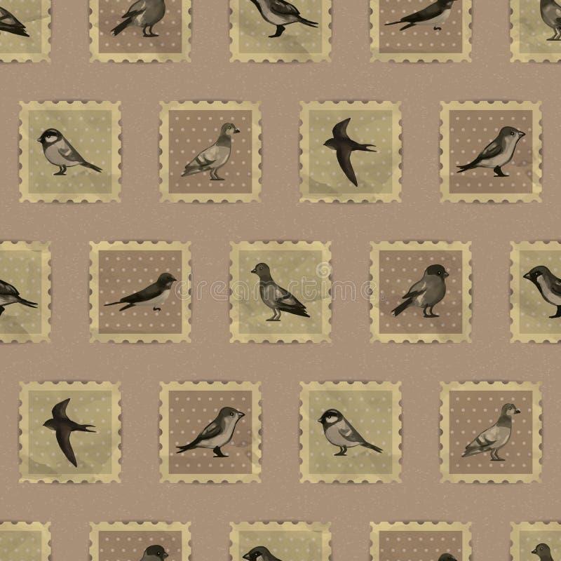 O teste padrão sem emenda do sepia do vintage com pássaro bonito carimba ilustração stock