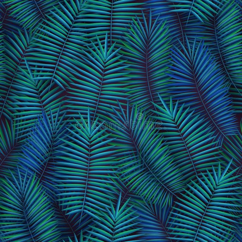 O teste padrão sem emenda do verão com folhas de palmeira tropicais realísticas projeta Contexto exótico da selva ilustração stock