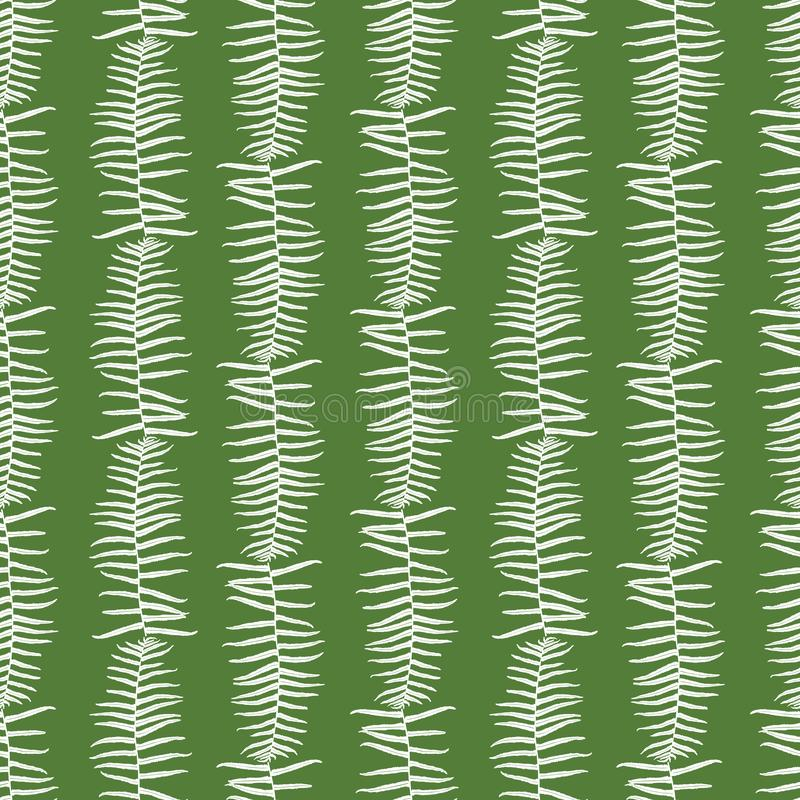 O teste padrão sem emenda do verde do vetor com samambaia sae de listras verticais Apropriado para a matéria têxtil, o papel de e ilustração stock