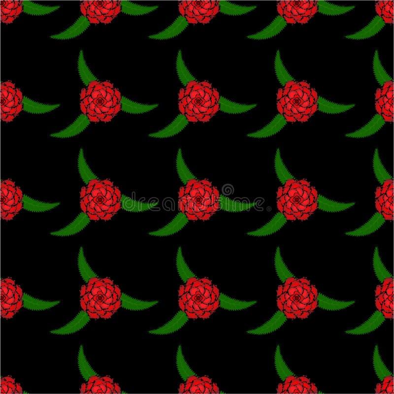O teste padrão sem emenda do vermelho levantou-se ilustração royalty free