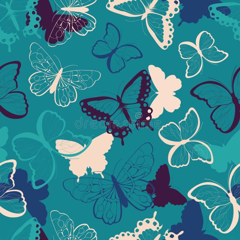 O teste padrão sem emenda do vetor com as borboletas coloridas tiradas mão, mostra em silhueta vibrante ilustração royalty free