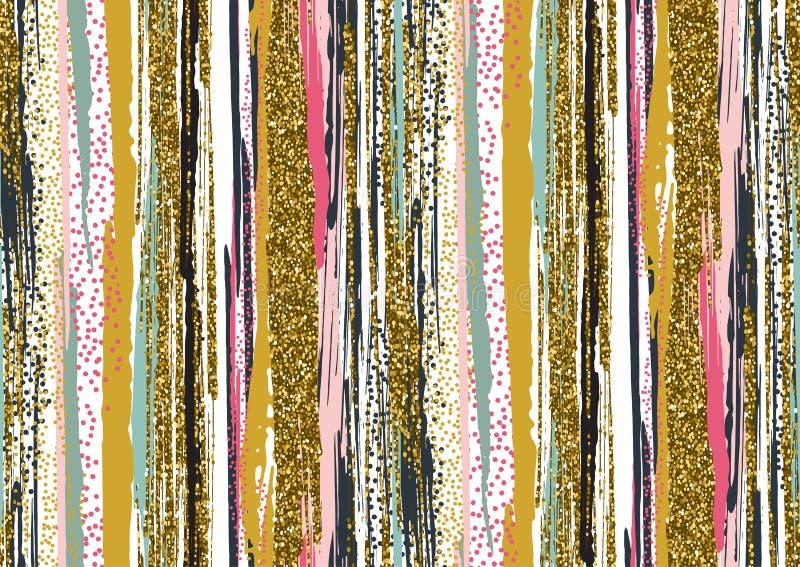 O teste padrão sem emenda do vetor com brilho tirado mão do ouro textured cursos da escova ilustração stock