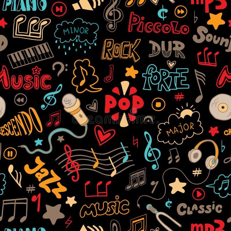 O teste padrão sem emenda do vetor da mão tirado rabisca em um tema da música ilustração stock