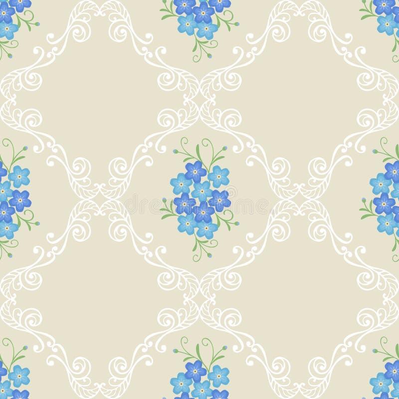 O teste padrão sem emenda do vintage floral com miosótis floresce em um fundo bege ilustração do vetor