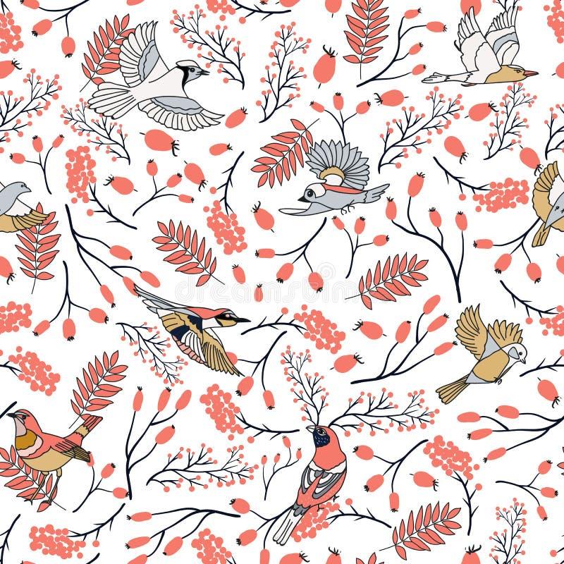 O teste padrão sem emenda dos pássaros do dom-fafe com cinza de montanha sae e bagas Fundo da coleção do Feliz Natal naughty ilustração royalty free