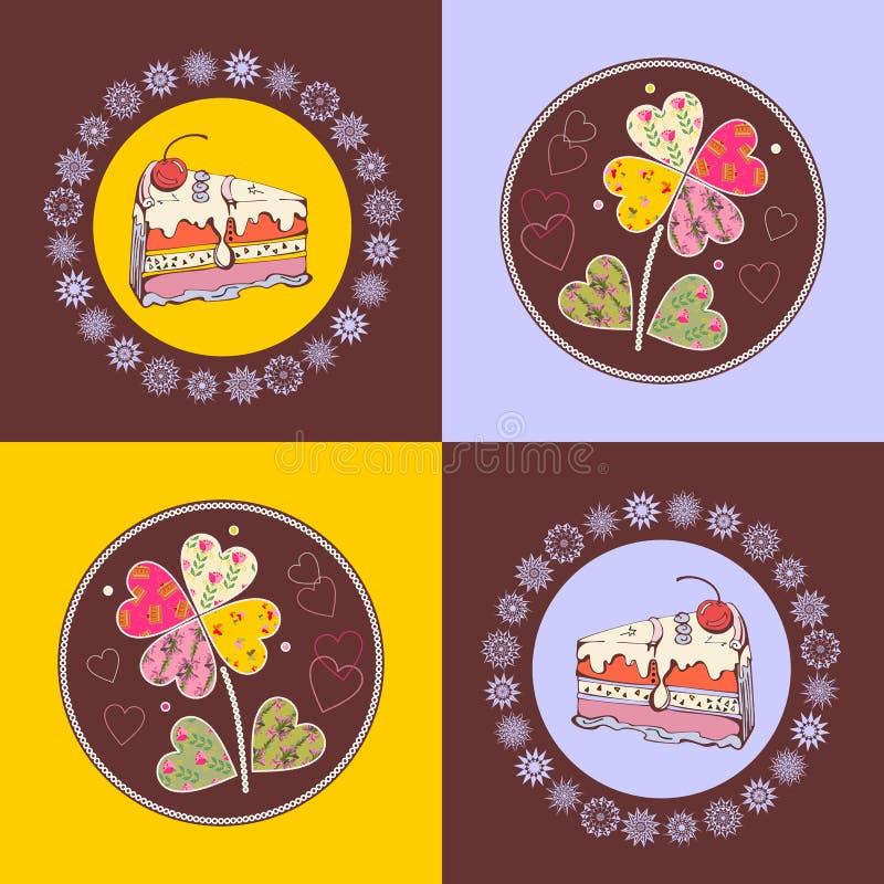 O teste padrão sem emenda dos quadrados com bolos e retalhos do doce floresce ilustração stock