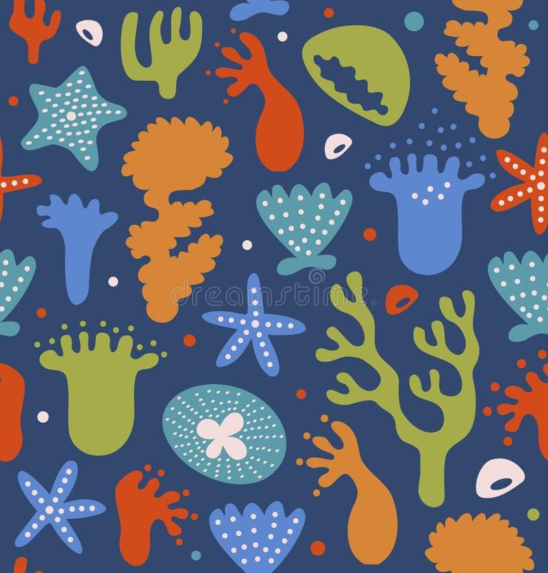 O teste padrão sem emenda dos recifes de corais coloridos, fundo marinho tropical decorativo, vector a textura náutica ilustração do vetor