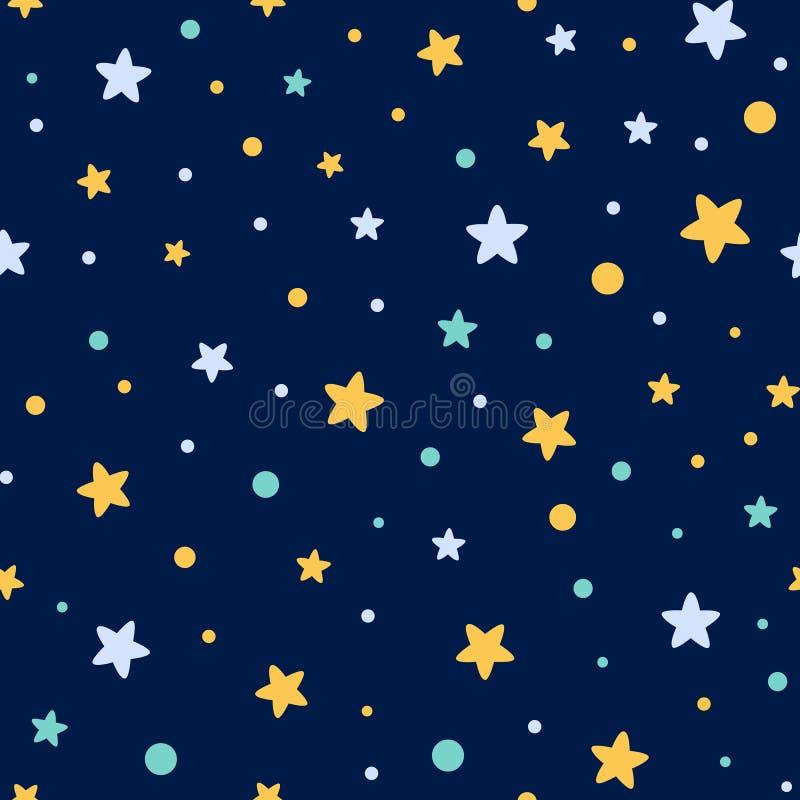O teste padrão sem emenda estrelado decorou estrelas azuis amarelas dá forma ao vetor escuro de matéria têxtil do papel de parede ilustração stock