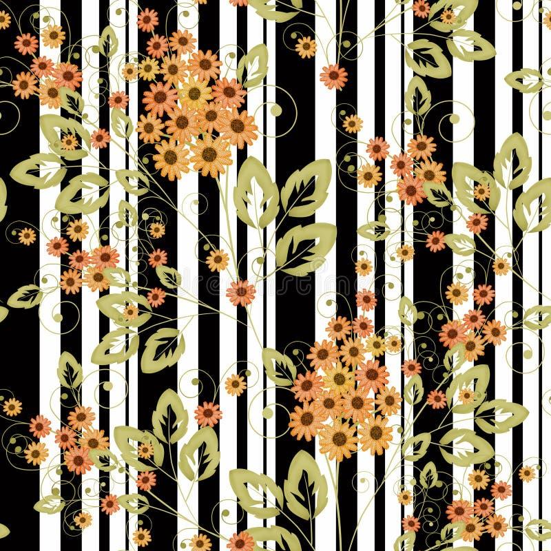 O teste padrão sem emenda floral, desenhos animados alaranjados bonitos floresce as listras brancas do fundo ilustração royalty free
