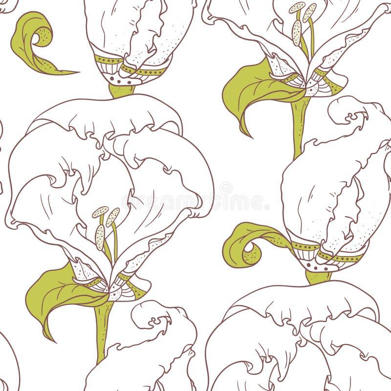 O teste padrão sem emenda floral do esboço abstrato com a mão tirada floresce ilustração royalty free