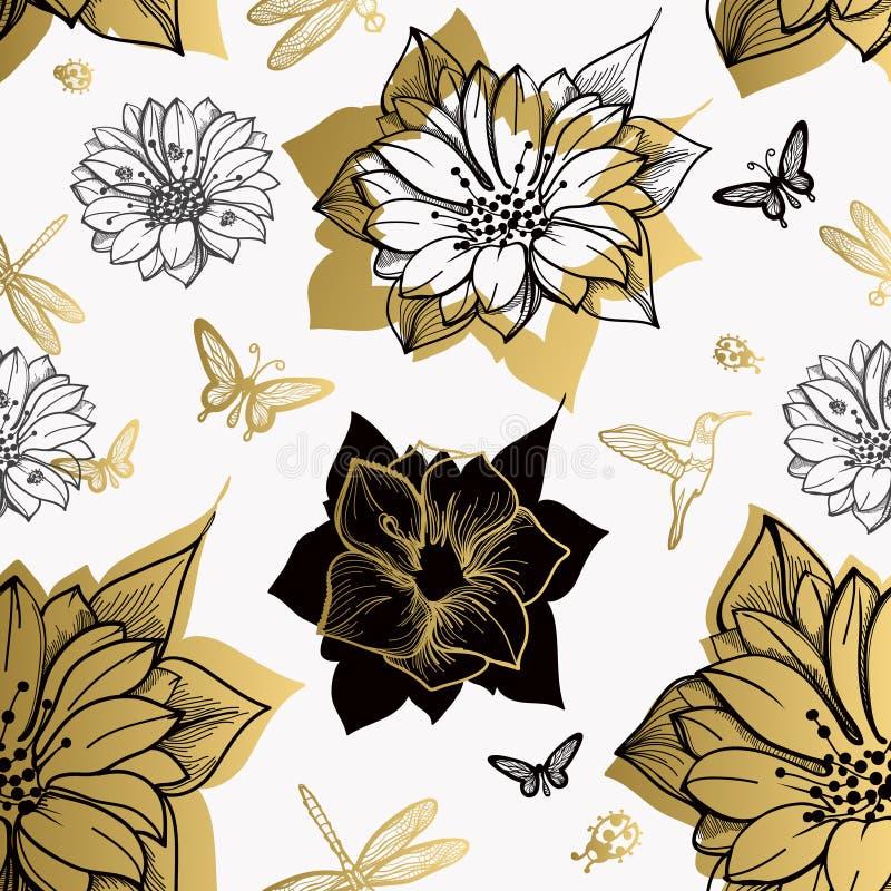 O teste padrão sem emenda floresce, borboletas, colibris, fundo branco ilustração stock