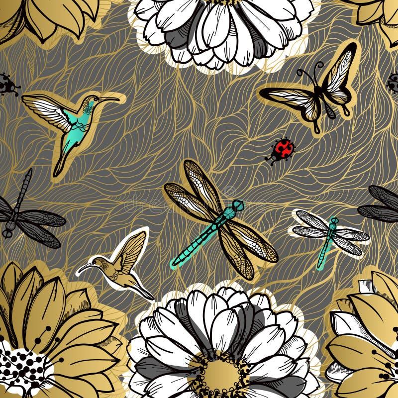 O teste padrão sem emenda floresce, borboletas, colibris, fundo escuro ilustração royalty free