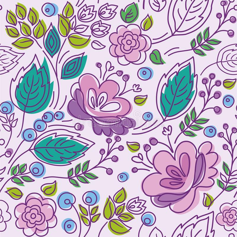 O teste padrão sem emenda, lilás, esboço roxo, flores cor-de-rosa, esmeralda sae ilustração do vetor