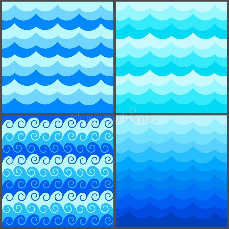 O teste padrão sem emenda marinho com azul estilizado acena em um fundo claro Arte do projeto do vetor do sumário do oceano do ma ilustração do vetor