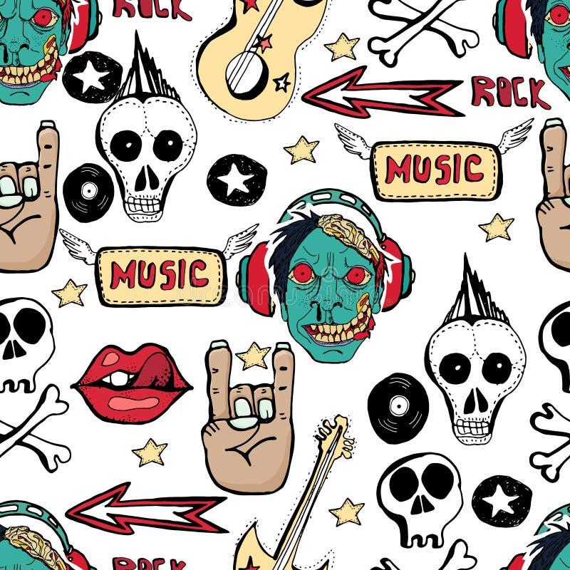 O teste padrão sem emenda moderno com crânios, símbolos de música rock, estrelas, punk rock atribui ilustração do vetor