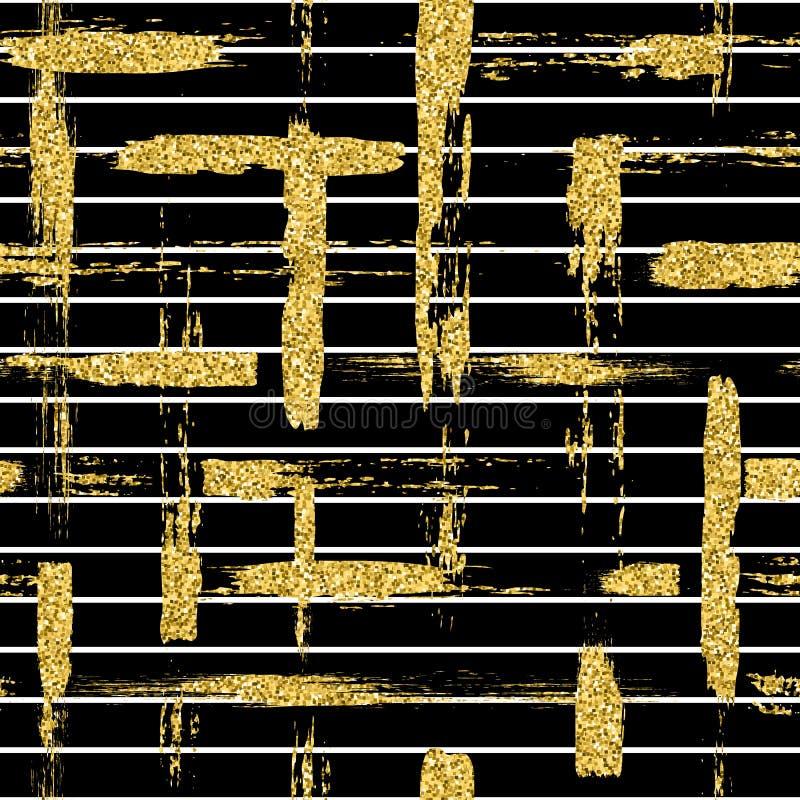 O teste padrão sem emenda moderno com escova do brilho listra e afaga a manta Cor dourada no fundo preto Pintado à mão ilustração royalty free