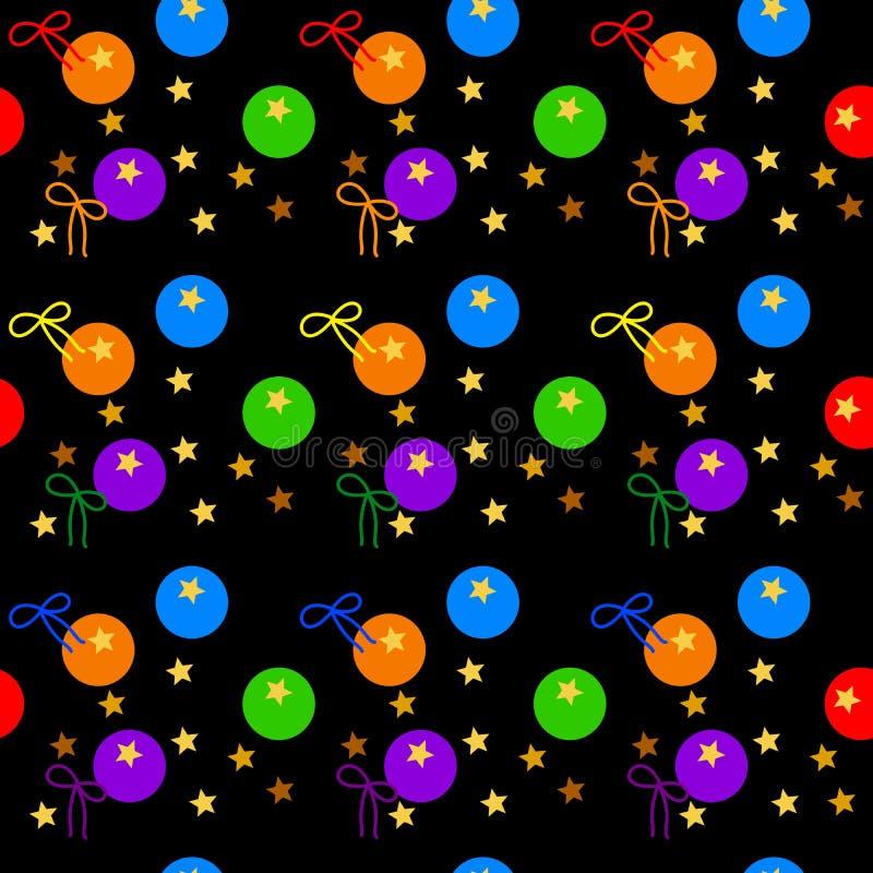 o teste padrão sem emenda Multi-colorido do arco-íris coloriu as bolas e as fitas, estrelas do ouro, no fundo escuro Ilustração d ilustração royalty free