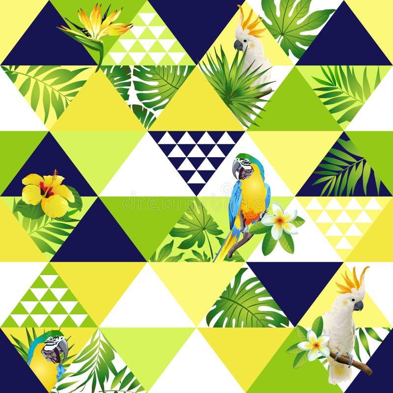 O teste padrão sem emenda na moda da praia exótica, retalhos ilustrou as folhas tropicais florais da banana Cacatua da selva, pap ilustração royalty free