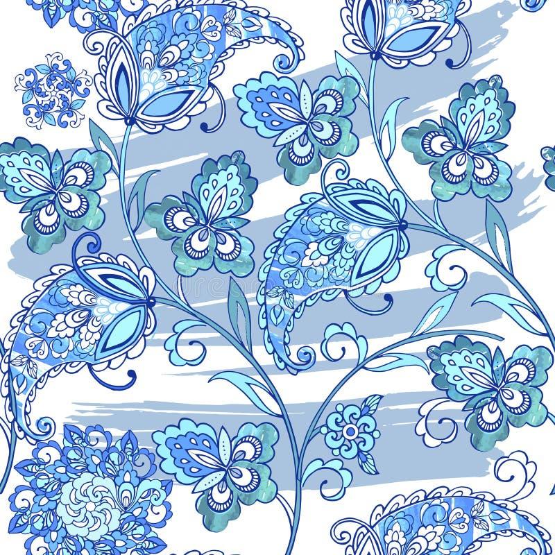 O teste padrão sem emenda oriental tradicional de paisley com aquarela mancha O vintage floresce o ornamento sem emenda em cores  ilustração stock