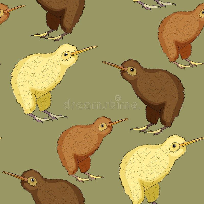 O teste padrão sem emenda o pássaro do quivi é bonito Ilustração do vetor ilustração do vetor
