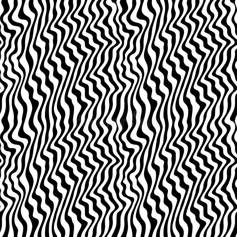O teste padrão sem emenda preto & branco com sumário curvou linhas ilustração stock