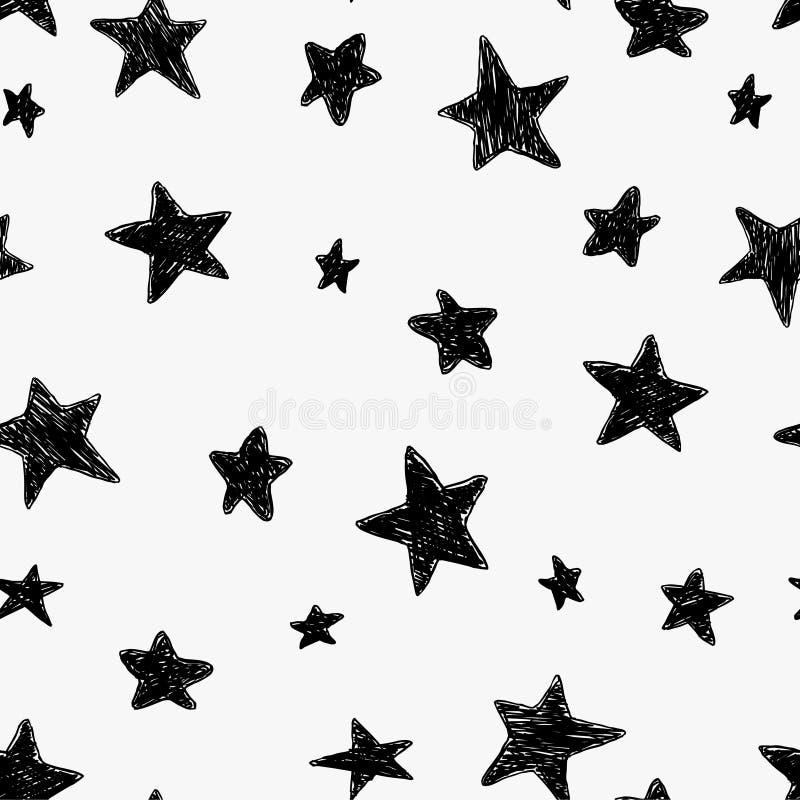 O teste padrão sem emenda preto e branco bonito do céu noturno com garatuja textured estrelas, mão tirada ilustração do vetor