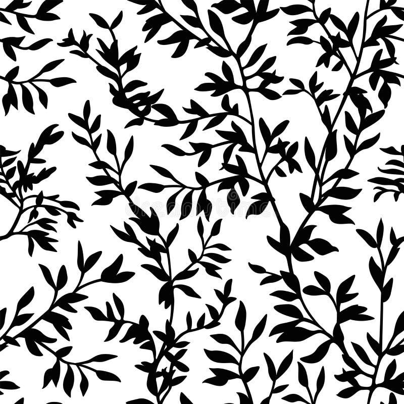 O teste padrão sem emenda ramifica silhueta ilustração stock