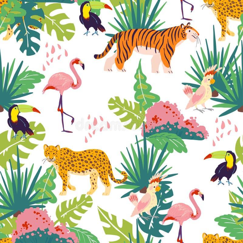 O teste padrão sem emenda tropical liso do vetor com as plantas da selva e elementos tirados mão, animais, pássaros isolou-se ilustração do vetor