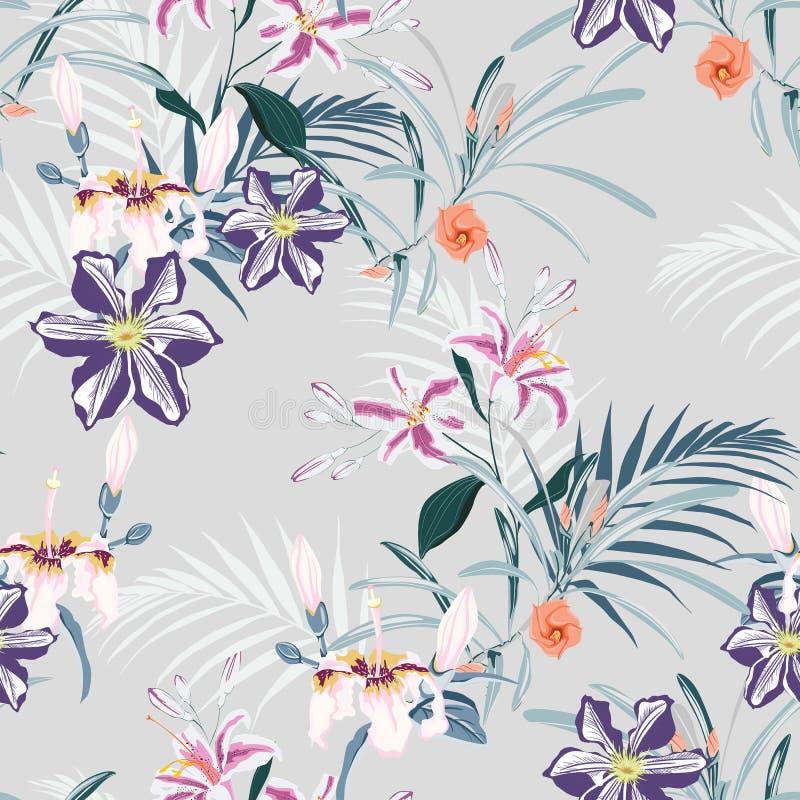 O teste padrão sem emenda, vintage claro colore folhas de palmeira e lírios cor-de-rosa, clematite e flores de paraíso tropicais  ilustração royalty free