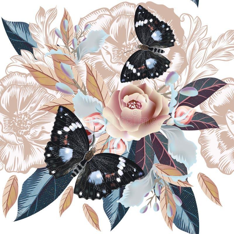O teste padrão tirado mão do vintage detalhou flores e borboletas ilustração do vetor