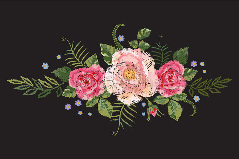 O teste padrão tradicional do bordado com rosas cor-de-rosa e esquece-me não ilustração do vetor